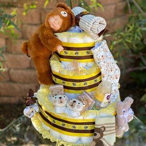 Teddy Bear Diaper Cake, Boy Diaper Cake